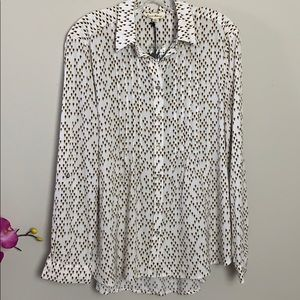 NWT Jane and Delancey white printed button…